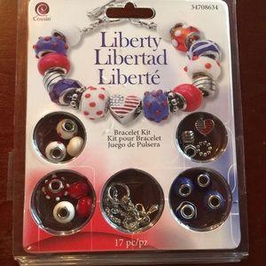 NWT patriotic bracelet making kit USA Flag beads